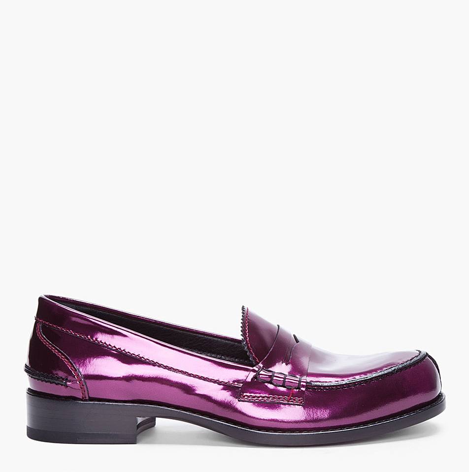 Jil Sander Metallic Purple Patent Loafers