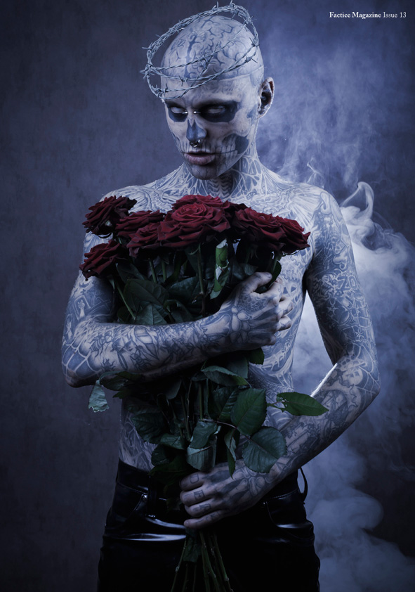 Rick genest by stephane roy for factice - Boy with rose wallpaper ...