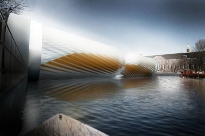 Amsterdam pedestrian bridge by dwawu architects for Design bridge amsterdam