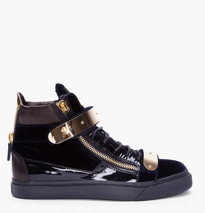 Giuseppe Zanotti Navy Velvet and Gold Sneakers 234e1649b26