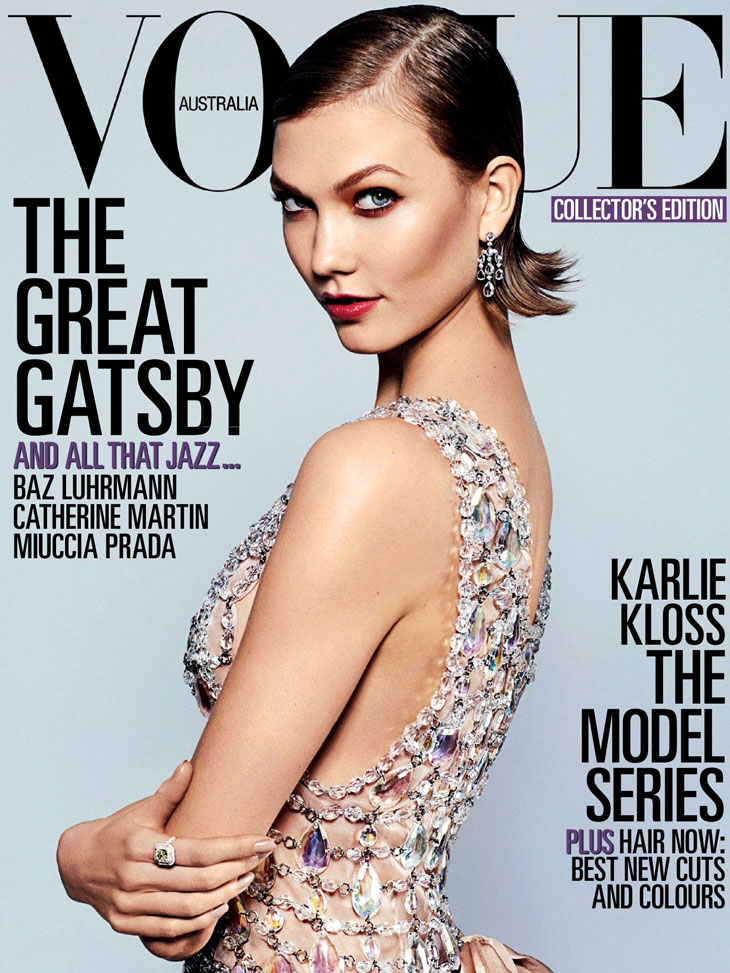 dc2e3091e1dd9 Supermodel Karlie Kloss (IMG Models) takes The Flapper Wears Prada cover  story of Australian Vogue s May 2013 edition photographed by Arthur Elgort.
