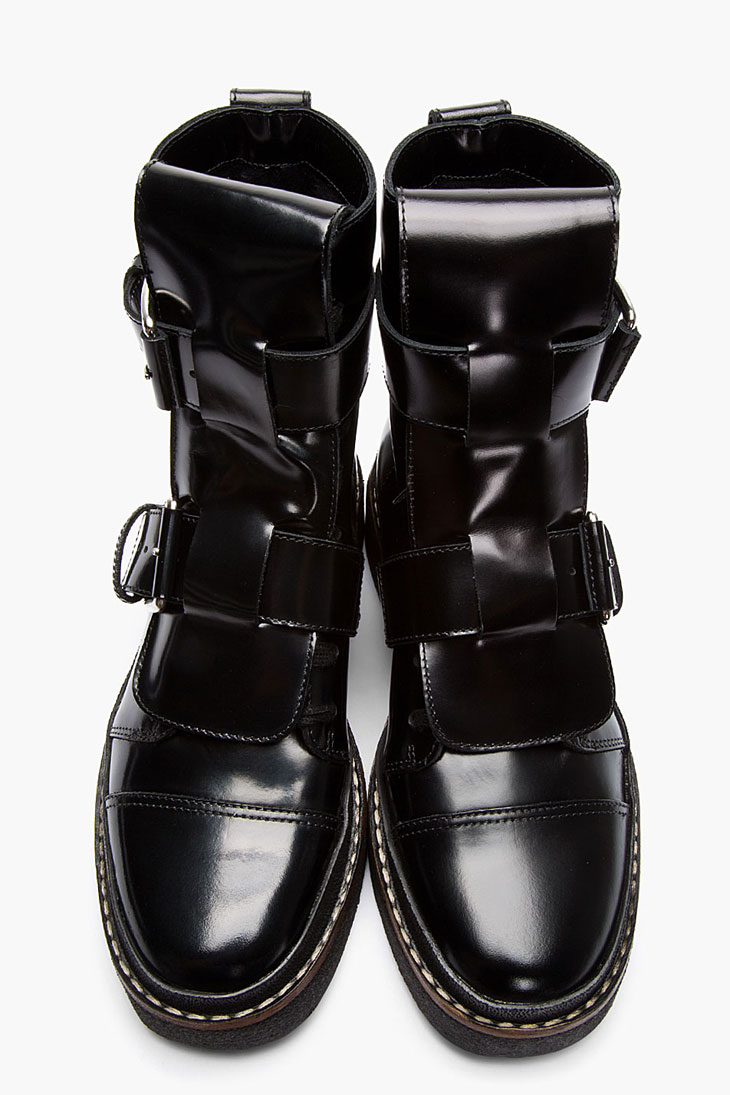 marni black leather buckle boots