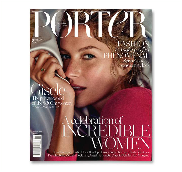 gisele bundchen on the 1st cover of porter magazine. Black Bedroom Furniture Sets. Home Design Ideas