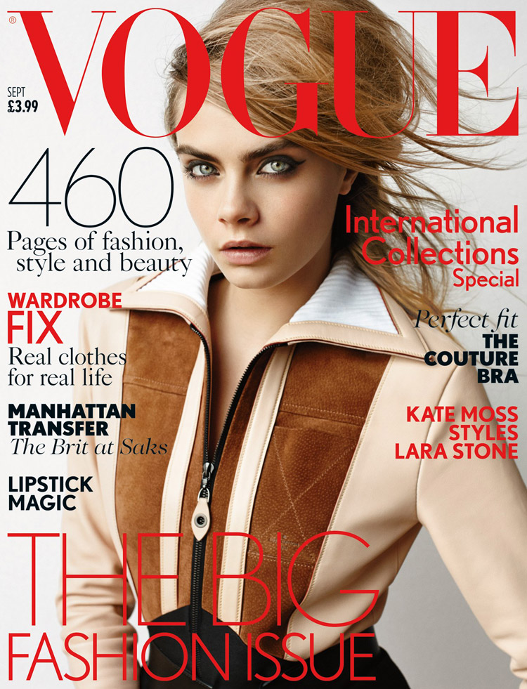 Fashion Magazines Look To Familiar Faces For Cover Models: Cara Delevingne In Louis Vuitton For Vogue UK