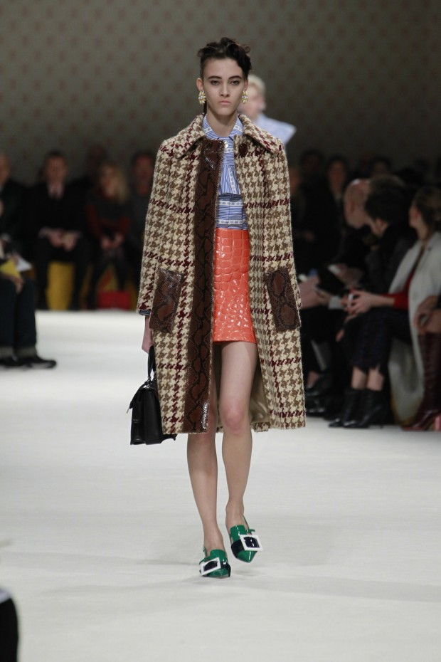 9ef76448a598 Miuccia Prada presented the Miu Miu fall winter 2015 collection during the  ongoing Paris Fashion Week. The women s collection was showcased on the  runway ...