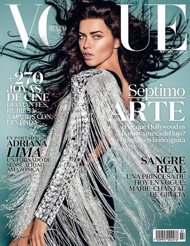 Adriana Lima Covers Vogue Mexico July 2015