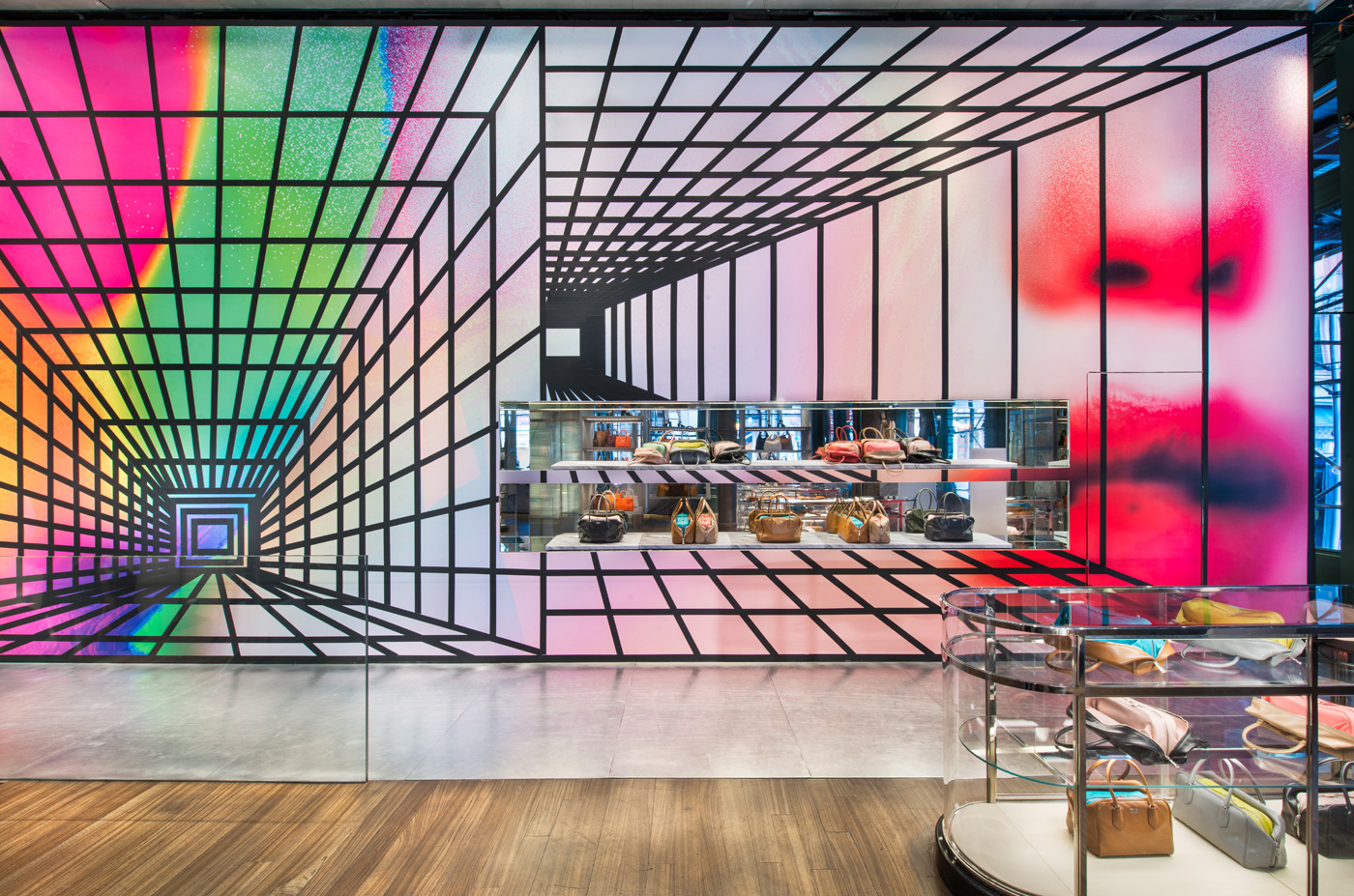 Prada broadway epicenter in nyc gets a wallpaper makeover for Broadway wall mural