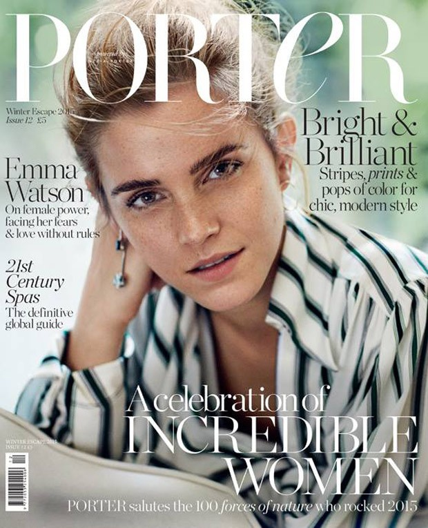 emma watson covers porter magazine winter escape 2015. Black Bedroom Furniture Sets. Home Design Ideas