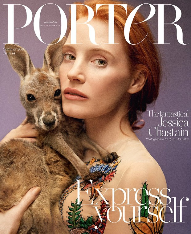 jessica chastain covers porter magazine summer 2016. Black Bedroom Furniture Sets. Home Design Ideas