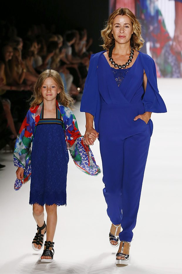 BERLIN, GERMANY - JUNE 28: Bettina Cramer and her daughter walk the runway at the Riani show during the Mercedes-Benz Fashion Week Berlin Spring/Summer 2017 at Erika Hess Eisstadion on June 28, 2016 in Berlin, Germany. (Photo by Frazer Harrison/Getty Images for Riani) *** Local Caption *** Bettina Cramer