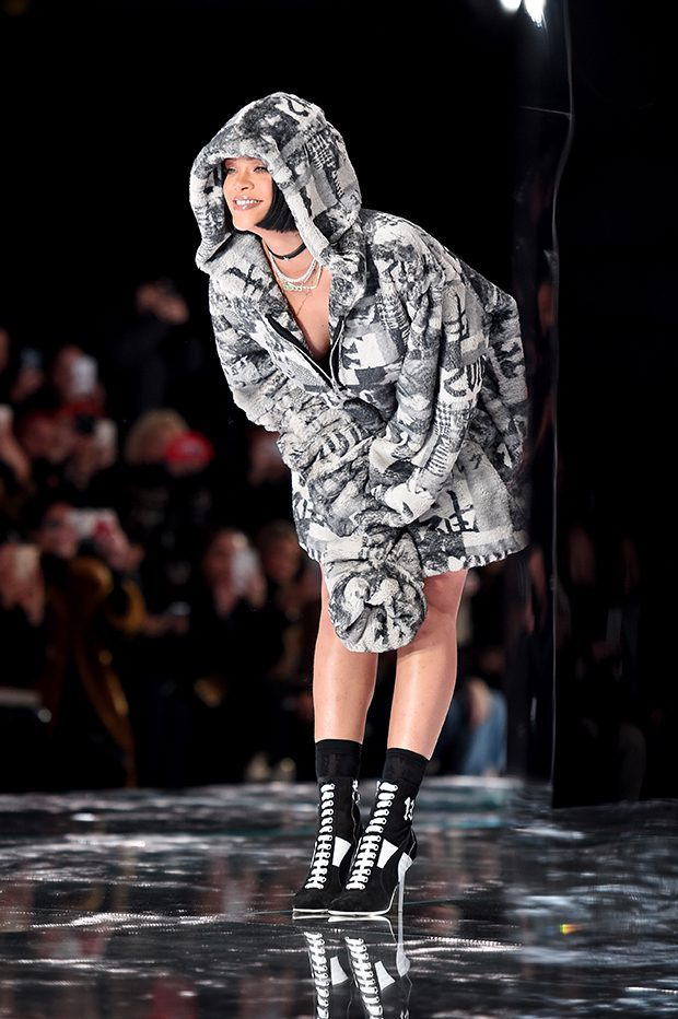 NEW YORK, NY - FEBRUARY 12: Rihanna walks the runway at the FENTY PUMA by Rihanna AW16 Collection during Fall 2016 New York Fashion Week at 23 Wall Street on February 12, 2016 in New York City. (Photo by Dimitrios Kambouris/Getty Images for FENTY PUMA)