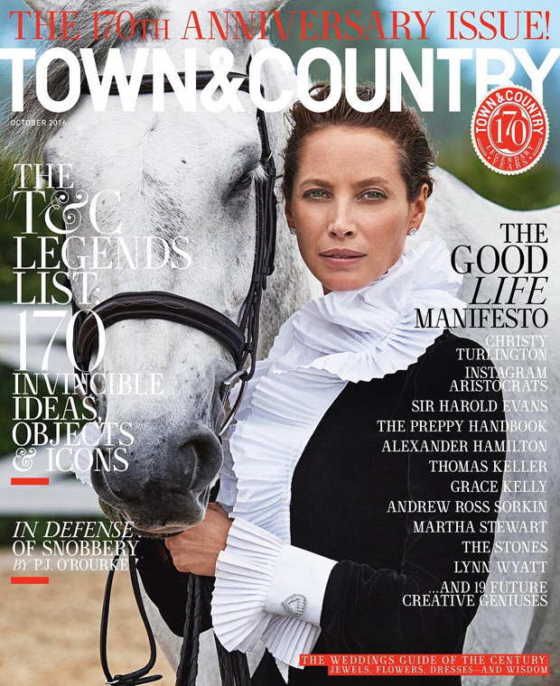Supermodel christy turlington covers town country 170th for Anniversary magazine