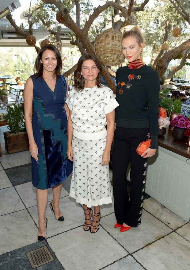 WEST HOLLYWOOD, CA - OCTOBER 25: (L-R) Chief Executive of the British Fashion Council Caroline Rush, fashion entrepreneur Natalie Massenet and fashion model Karlie Kloss attend The Fashion Awards 2016 Official Nominees Announcement Brunch at Soho House on October 25, 2016 in West Hollywood, California. (Photo by Matt Winkelmeyer/Getty Images for The British Fashion Council ) *** Local Caption *** Caroline Rush;Natalie Massenet;Karlie Kloss