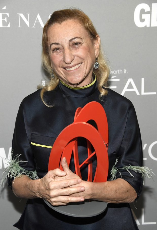 LOS ANGELES, CA - NOVEMBER 14: Honoree Muccia Prada poses with an award at Glamour Women Of The Year 2016 at NeueHouse Hollywood on November 14, 2016 in Los Angeles, California. (Photo by Frazer Harrison/Getty Images for Glamour)