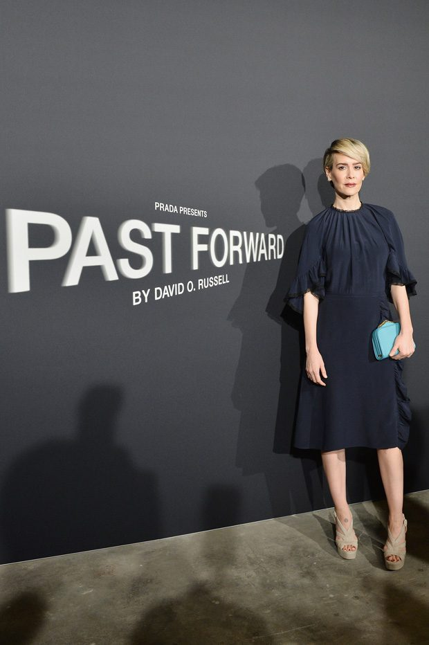 LOS ANGELES, CA - NOVEMBER 15: Actress Sarah Paulson attends the premiere of 'Past Forward', a movie by David O. Russell presented by Prada on November 15, 2016 at Hauser Wirth Schimmel Gallery in Los Angeles, California. (Photo by Stefanie Keenan/Getty Images for PRADA) *** Local Caption *** Sarah Paulson