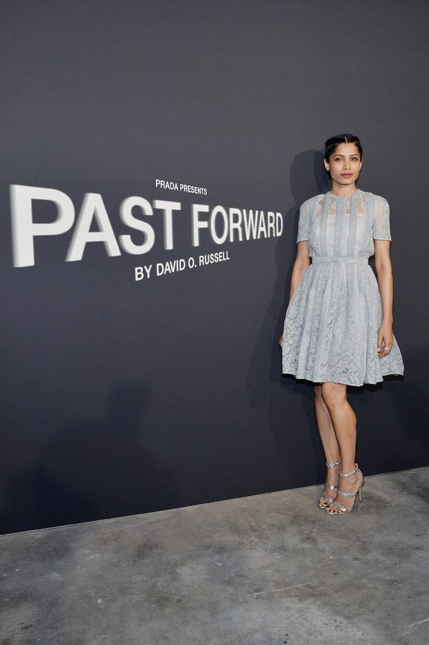 LOS ANGELES, CA - NOVEMBER 15: Actress Freida Pinto attends the premiere of 'Past Forward', a movie by David O. Russell presented by Prada on November 15, 2016 at Hauser Wirth Schimmel Gallery in Los Angeles, California. (Photo by Stefanie Keenan/Getty Images for PRADA) *** Local Caption *** Freida Pinto