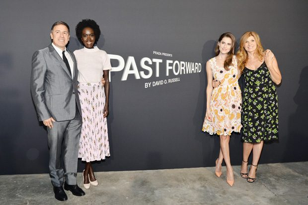 LOS ANGELES, CA - NOVEMBER 15: (L-R) Director David O. Russell, actresses Kuoth Wiel, Allison Williams, and Connie Britton attend the premiere of 'Past Forward', a movie by David O. Russell presented by Prada on November 15, 2016 at Hauser Wirth Schimmel Gallery in Los Angeles, California. (Photo by Stefanie Keenan/Getty Images for PRADA) *** Local Caption *** David O. Russell, Kuoth Wiel, Allison Williams, Connie Britton