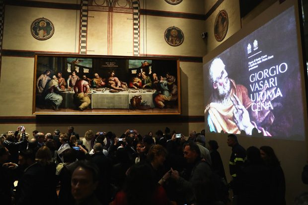 FLORENCE, ITALY - NOVEMBER 04: A general view during the Giorgio Vasari's Last Supper Painting Unveiling Ceremony - A Restoration Project Supported By Prada on November 4, 2016 in Florence, Italy. (Photo by Vittorio Zunino Celotto/Getty Images for Prada)
