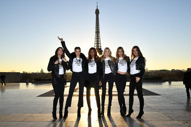PARIS, FRANCE - NOVEMBER 29: (L-R) Lily Aldridge, Adriana Lima, Jasmine Tookes, Elsa Hosk, Josephine Skriver and Alessandra Ambrosio pose in front of the Eiffel Tower prior the 2016 Victoria's Secret Fashion Show on November 29, 2016 in Paris, France. (Photo by Dimitrios Kambouris/Getty Images for Victoria's Secret)