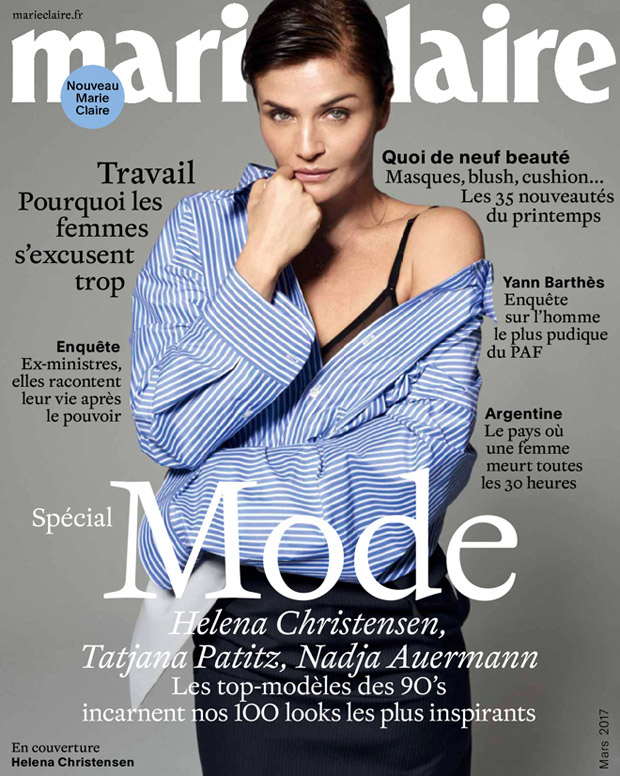 helena christensen stars in marie claire france march 2017 cover story. Black Bedroom Furniture Sets. Home Design Ideas