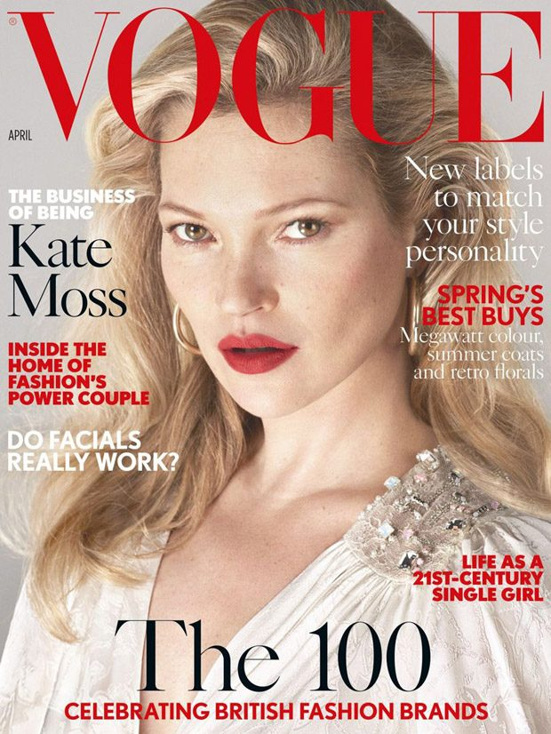 Kate Moss Stars on the Cover of British Vogue April 2017 Issue