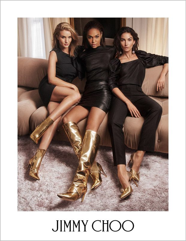 Joan Smalls, Lily Aldridge & Rosie Huntington-Whiteley for Jimmy Choo FW18