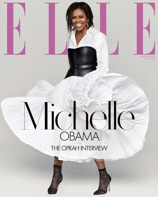 The former First Lady Michelle Obama Talks to Oprah for Elle Magazine