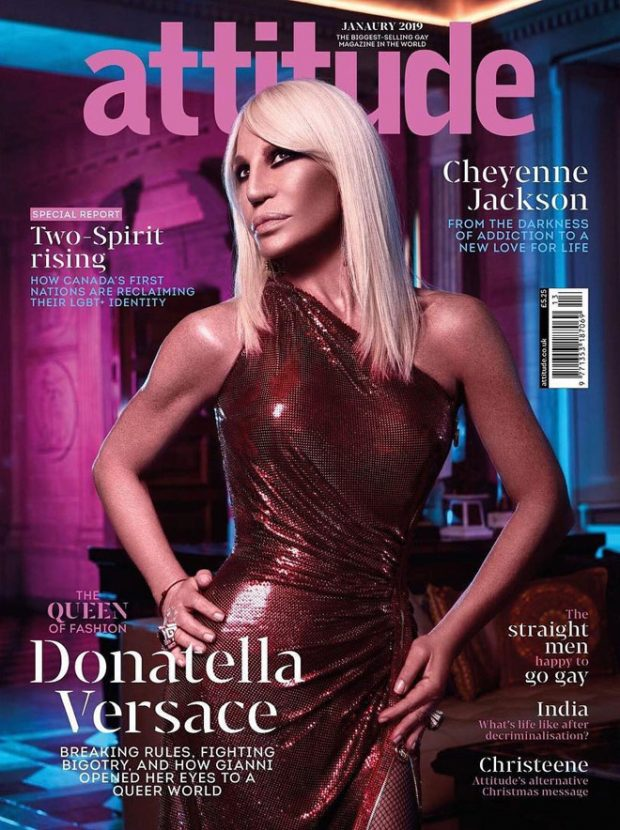 Donatella Versace is the Cover Star of Attitude Magazine January 2019 Issue